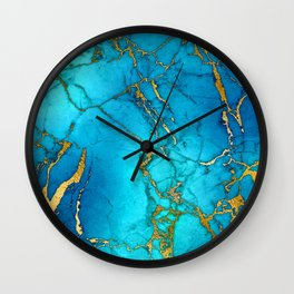 Gold And Teal Blue Indigo Malachite Marble Wall Clock