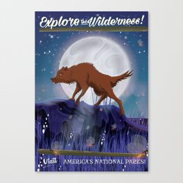 Explore the Wilderness Wolf at night Canvas Print
