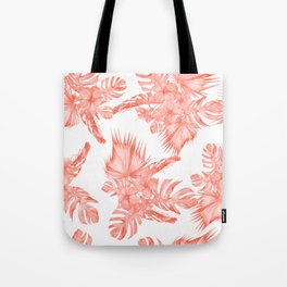 Tropical Palm Leaves Hibiscus Flowers Deep Coral Tote Bag