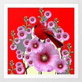 MODERN  RED ART PINK HOLLYHOCKS & RED CARDINAL BIRD Art Print
