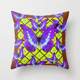 Migrating Purple Butterflies  on  Coffee Brown & Lime Color Pattern Throw Pillow