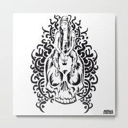ONE INK SKULL Metal Print
