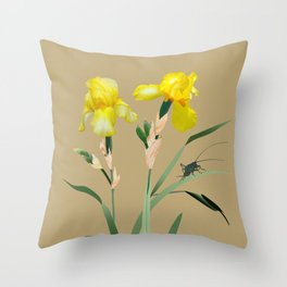 Yellow Iris and Cricket Throw Pillow