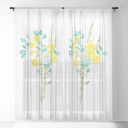 yellow flower and green eucalyptus leaf Sheer Curtain
