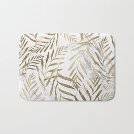 Gold and Marble Leaves Bath Mat