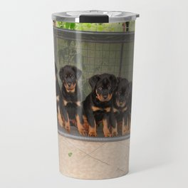 Six Rottweiler Puppies Lined Up On A Swing Travel Mug