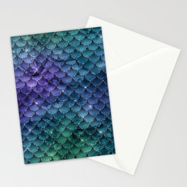 Iridescent Green Blue Purple Mermaid Scales Stationery Cards