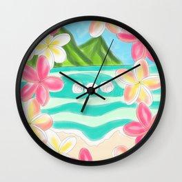 Plumeria ocean view Wall Clock