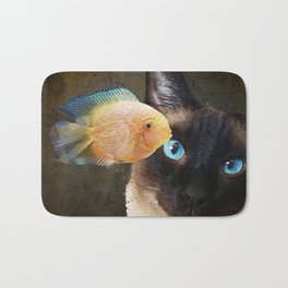 Wishful Thinking 2 - Siamese Cat Art - Sharon Cummings Bath Mat