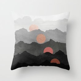 Abstract Mountains // Shades of Black and Grey Landscape Full Metallic Gold Moon Throw Pillow