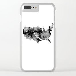 United States Print, Tree rings, Tree stump, Wood grain, Tree ring art Clear iPhone Case