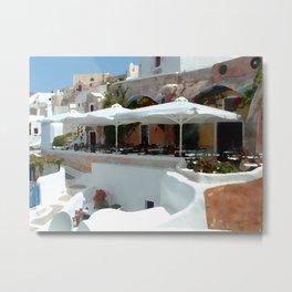 Santorini Cafe Metal Print