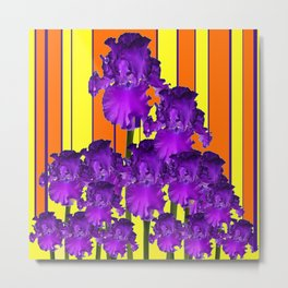 Decorative Contemporary Purple Yellow Iris Orange Garden Art Metal Print