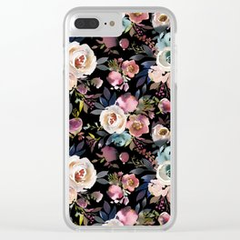 Blush pink teal lilac ivory watercolor modern roses Clear iPhone Case