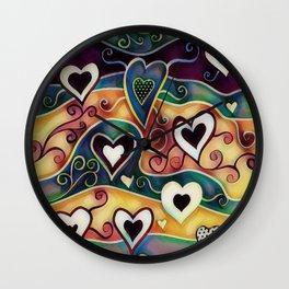 Funky Hearts Wall Clock