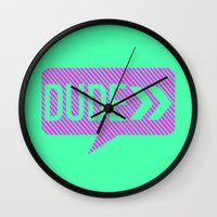 the dude Wall Clocks featuring Dude by Mr and Mrs Quirynen