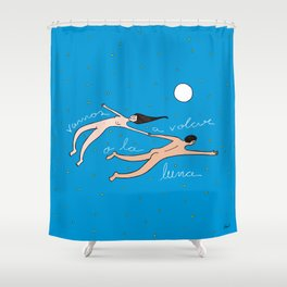Vamos a volar a la luna Shower Curtain