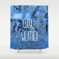 cuddle Shower Curtains featuring Cuddle Weather by ALLY COXON
