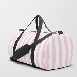 Pastel pink white modern geometric stripes Duffle Bag