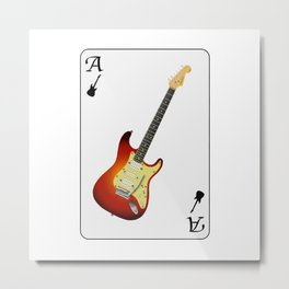 Guitar Ace Playing Card Metal Print