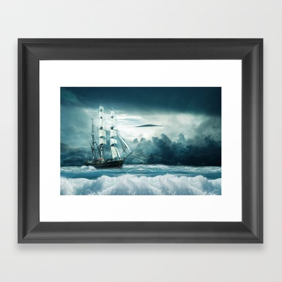 Blue Ocean Ship Storm Clouds by shirtsandgifts