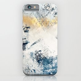 Sunset [1]: a bright, colorful abstract piece in blue, gold, and white by Alyssa Hamilton Art iPhone Case