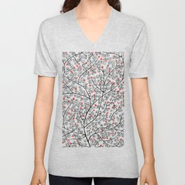 Glamorous tree in black and red Unisex V-Neck