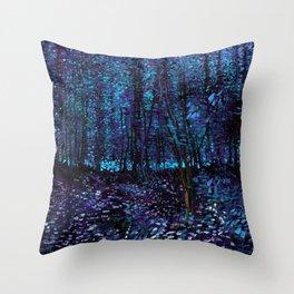 Van Gogh Trees & Underwood Indigo Turquoise Throw Pillow