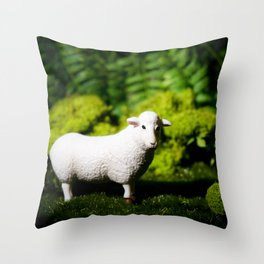 A white sheep in the forest Throw Pillow