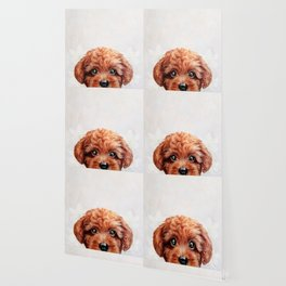 Toy poodle red brown Dog illustration original painting print Wallpaper