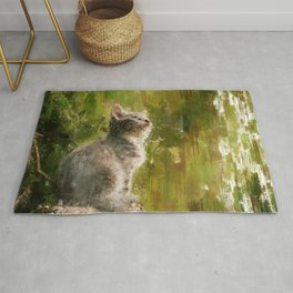 Cute abstract kitten Rug