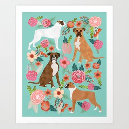 Boxer dog breed florals mint pastel turquoise cute pet portrait animal fur baby must have gifts  Art Print