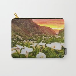 'Calla Lily Sunrise at Big Sur' Portrait Painting by Jeanpaul Ferro Carry-All Pouch