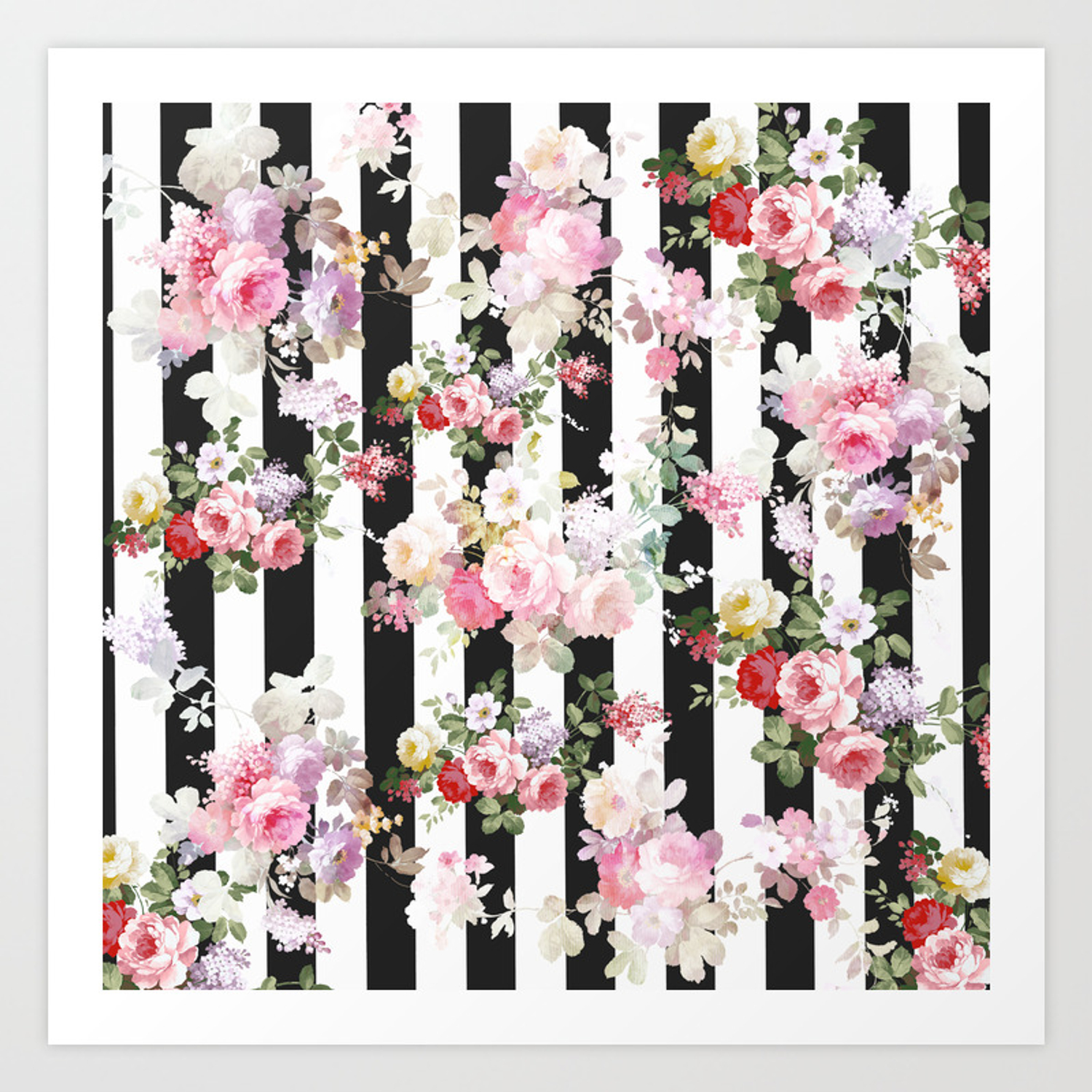 Bold pink watercolor roses floral black white stripes art print
