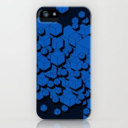 3D Cobalt blue Cubes iPhone Case