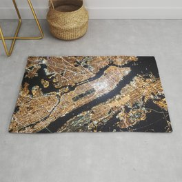 New York City, Map in Gold Rug
