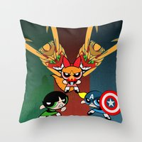 powerpuff girls Throw Pillows featuring Powerpuff Girls by milanova