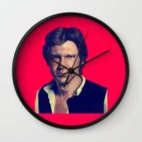 han solo Wall Clocks featuring Han Solo  by Jemma Klein