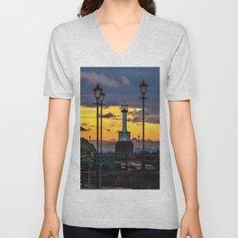 Maryport Lighthouse At Sunset Unisex V-Neck