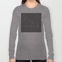 Romantic Hearts Love Birds Bright Color Gray Textured Long Sleeve T-shirt
