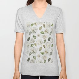 Green brown white watercolor modern floral leaves Unisex V-Neck