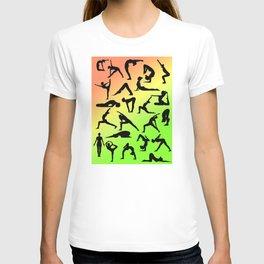 Yoga Poses - Orange Yellow Green collage T-shirt