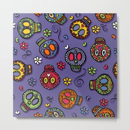 Sugar Skulls (on purple) - calavera, skull,  halloween, illustration Metal Print