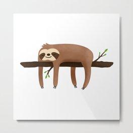 Sloth Kawaii Lazy day Metal Print