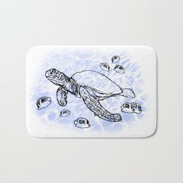 Sea Turtle with raccoon butterflyfish Bath Mat