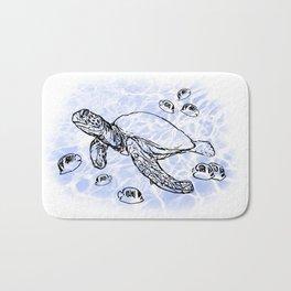Sea Turtle with raccoon butterflyfish Bath Mat
