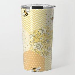 Patchwork Bees Pattern Travel Mug