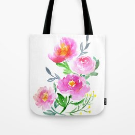Watercolor Flower Bouquet Tote Bag