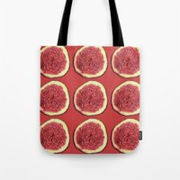fig Tote Bags featuring fig by Panic Junkie