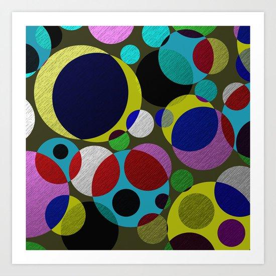 Bubbles - Fun, geometric, colourful design Art Print